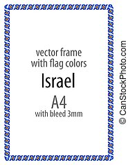Frame and border of ribbon with the colors of the Israel flag