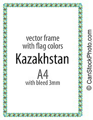 Frame and border of ribbon with the colors of the Kazakhstan flag