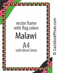 Frame and border of ribbon with the colors of the Malawi flag