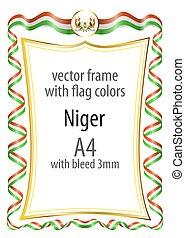 Frame and border of ribbon with the colors of the Niger flag