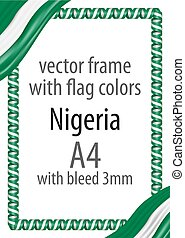 Frame and border of ribbon with the colors of the Nigeria flag