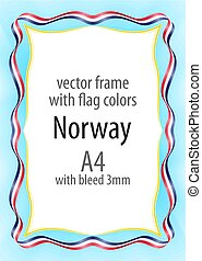 Frame and border of ribbon with the colors of the Norway flag