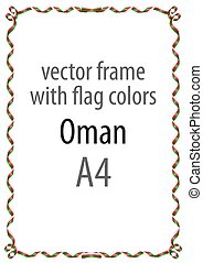 Frame and border of ribbon with the colors of the Oman flag