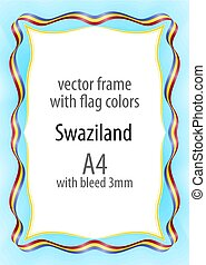 Frame and border of ribbon with the colors of the Swaziland flag