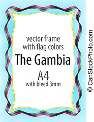 Frame and border of ribbon with the colors of the The Gambia flag