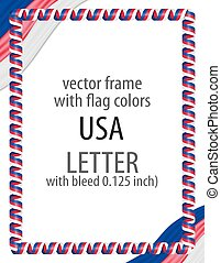 Frame and border of ribbon with the colors of the USA flag