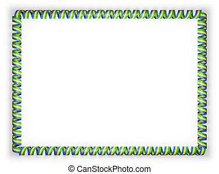 Frame and border of ribbon with the Gabon flag. 3d illustration
