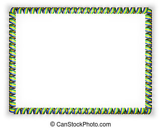 Frame and border of ribbon with the Gabon flag, edging from the golden rope. 3d illustration