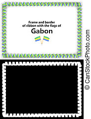 Frame and border of ribbon with the Gabon flag for diplomas, congratulations, certificates. Alpha channel. 3d illustration