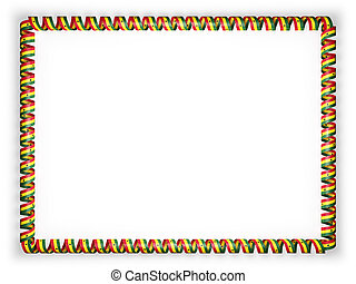 Frame and border of ribbon with the Ghana flag. 3d illustration