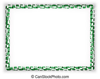Frame and border of ribbon with the Nigeria flag. 3d illustration
