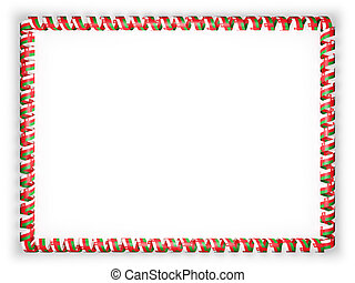 Frame and border of ribbon with the Oman flag. 3d illustration