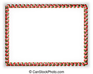 Frame and border of ribbon with the Oman flag, edging from the golden rope. 3d illustration