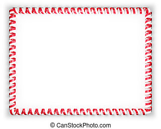 Frame and border of ribbon with the Singapore flag. 3d illustration