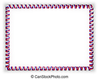 Frame and border of ribbon with the Slovakia flag. 3d illustration