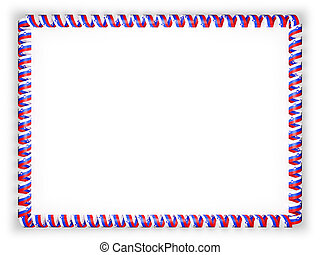 Frame and border of ribbon with the Slovenia flag. 3d illustration