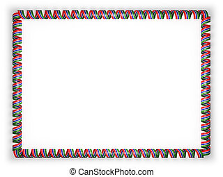 Frame and border of ribbon with the 'The Gambia' flag. 3d illustration