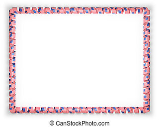 Frame and border of ribbon with the USA flag. 3d illustration