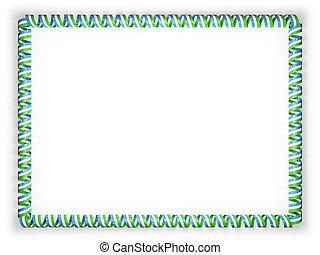 Frame and border of ribbon with the Uzbekistan flag. 3d illustration