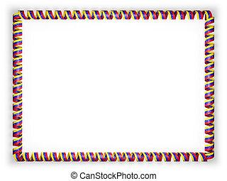 Frame and border of ribbon with the Venezuela flag. 3d illustration