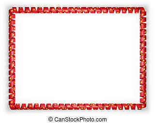 Frame and border of ribbon with the Vietnam flag. 3d illustration