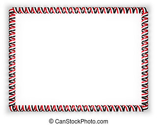 Frame and border of ribbon with the Yemen flag. 3d illustration