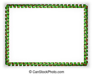 Frame and border of ribbon with the Zambia flag. 3d illustration