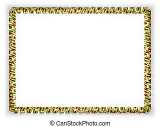 Frame and border of ribbon with the Zimbabwe flag. 3d illustration