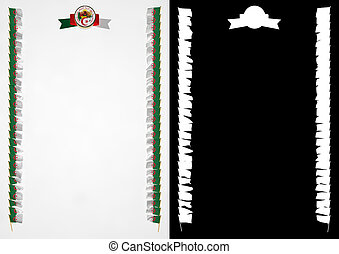 Frame and Border with flag and coat of arms Algeria. 3d illustration