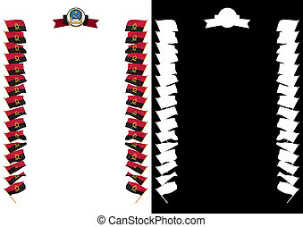 Frame and Border with flag and coat of arms Angola. 3d illustration