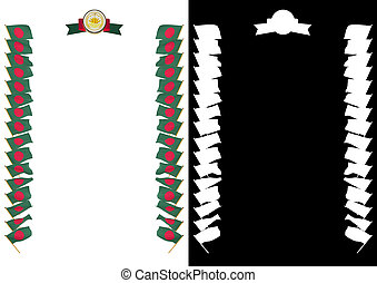 Frame and Border with flag and coat of arms Bangladesh. 3d illustration