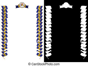 Frame and Border with flag and coat of arms Barbados. 3d illustration