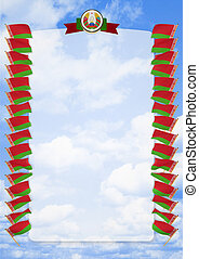 Frame and Border with flag and coat of arms Belarus. 3d illustration