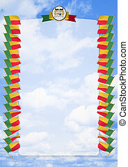 Frame and Border with flag and coat of arms Benin. 3d illustration