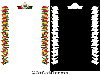 Frame and Border with flag and coat of arms Ghana. 3d illustration