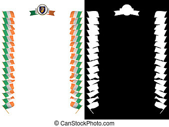 Frame and Border with flag and coat of arms Ireland. 3d illustration