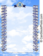 Frame and Border with flag and coat of arms Israel. 3d illustration