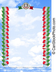 Frame and Border with flag and coat of arms Italy. 3d illustration