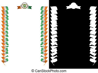 Frame and Border with flag and coat of arms Ivory Coast. 3d illustration