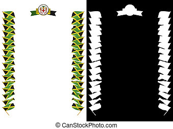 Frame and Border with flag and coat of arms Jamaica. 3d illustration