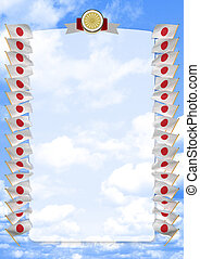 Frame and Border with flag and coat of arms Japan. 3d illustration