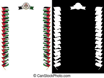 Frame and Border with flag and coat of arms Jordan. 3d illustration