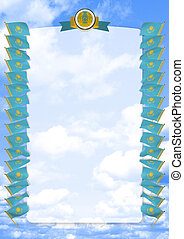 Frame and Border with flag and coat of arms Kazakhstan. 3d illustration