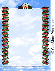 Frame and Border with flag and coat of arms Kenya. 3d illustration