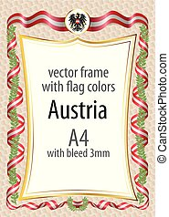 Frame and border with the coat of arms and ribbon with the colors of the Austria flag