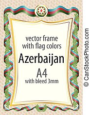 Frame and border with the coat of arms and ribbon with the colors of the Azerbaijan flag