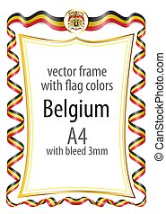 Frame and border with the coat of arms and ribbon with the colors of the Belgium flag