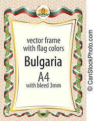 Frame and border with the coat of arms and ribbon with the colors of the Bulgaria flag