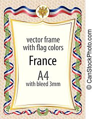 Frame and border with the coat of arms and ribbon with the colors of the France flag