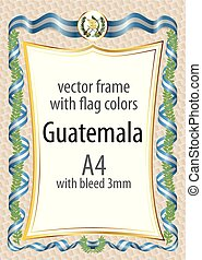 Frame and border with the coat of arms and ribbon with the colors of the Guatemala flag